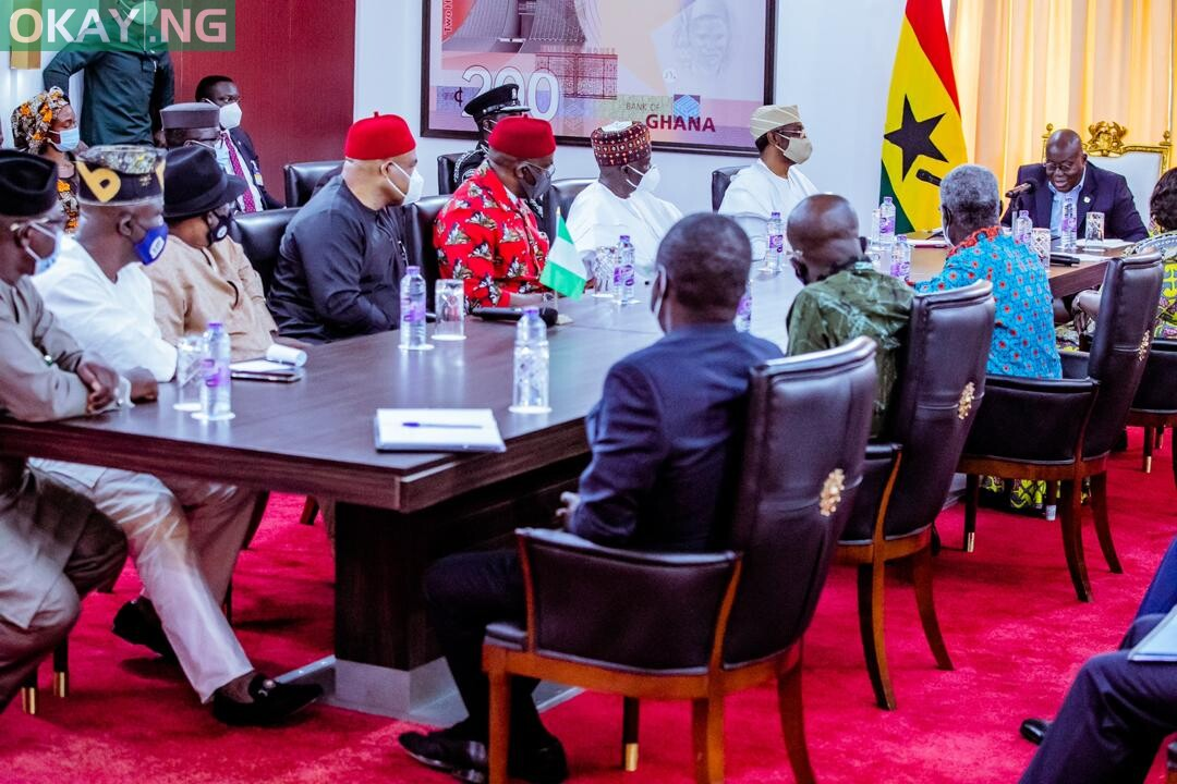 Speaker of the House of Representatives, Rep. Femi Gbajabjamila (extreme left) and a delegation of Nigerian lawmakers in a meeting with the President of the Republic of Ghana, Nana Akufo-Ado (extreme right) and some senior members of the Ghanaian government to resolve some issues between Nigeria and Ghana in Accra on Thursday, 3 September, 2020.
