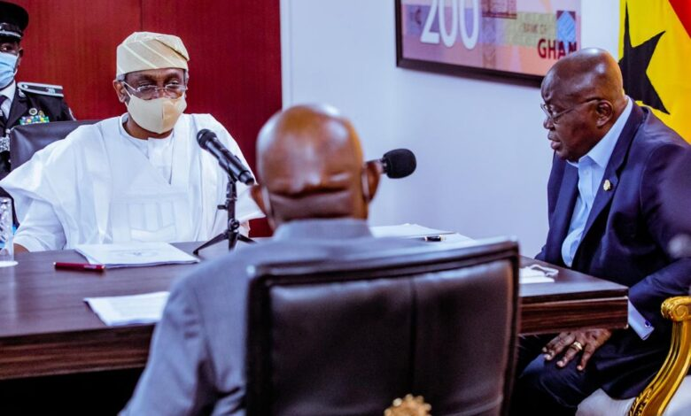 Speaker of the House of Representatives, Rep. Femi Gbajabjamila (left) and the President of the Republic of Ghana, Nana Akufo-Ado (extreme right) during a meeting to resolve some issues between Nigeria and Ghana in Accra on Thursday, 3 September, 2020.