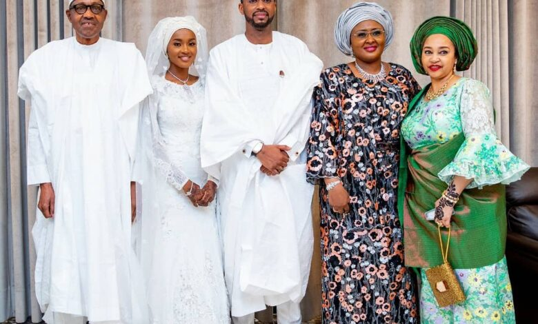 Photo of Aisha Buhari shares official pictures from youngest daughter's wedding