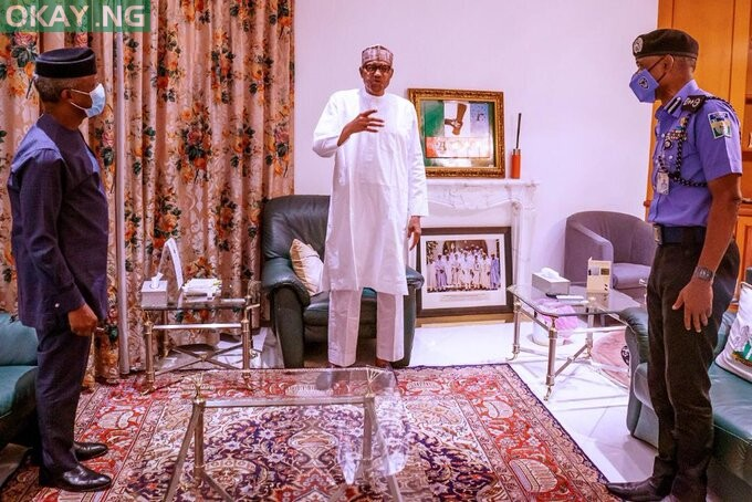Buhari meeting with inspector-general of police, Mohammed Adamu