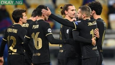 Barcelona players celebrating against Dynamo Kiev