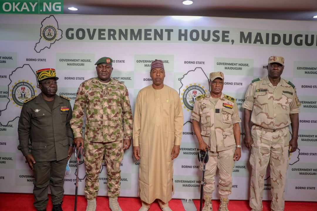 Governor Babagana Zulum with Cameroonian military delegation on Thursday in Maiduguri, Borno state capital