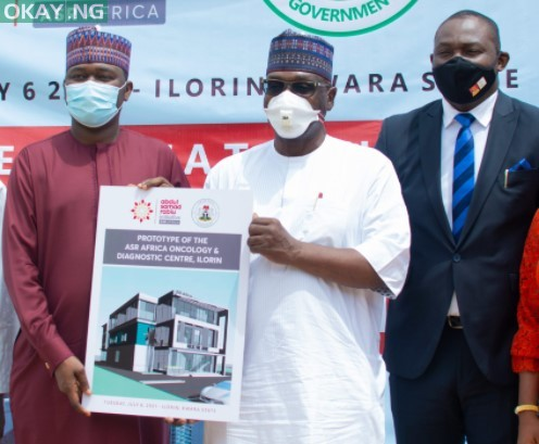 L-R: Kabiru Rabiu, Group Executive Director, BUA Group; Governor AbdulRahman AbdulRazaq of Kwara and Ubon Udoh, Managing Director, ASR Africa during the presentation of a N2.5billion grant by ASR Africa to Kwara State Government for a proposed Oncology and Diagnostic Center to be built in Ilorin