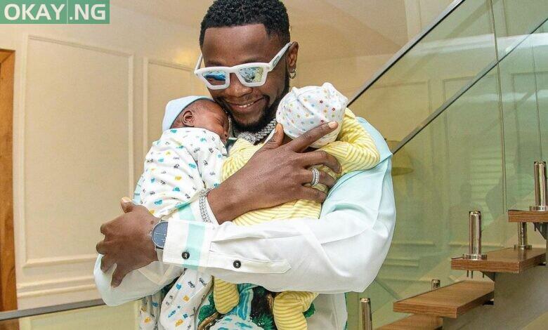 Kizz Daniel and his twin babies, Jelani and Jalil