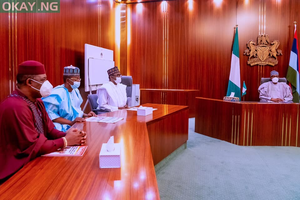 Caretaker Committee Chairman of the ruling All Progressives Congress APC, Mai Mala Buni present Femi Fani-Kayode to President Muhammadu Buhari on 16th Sep 2021,