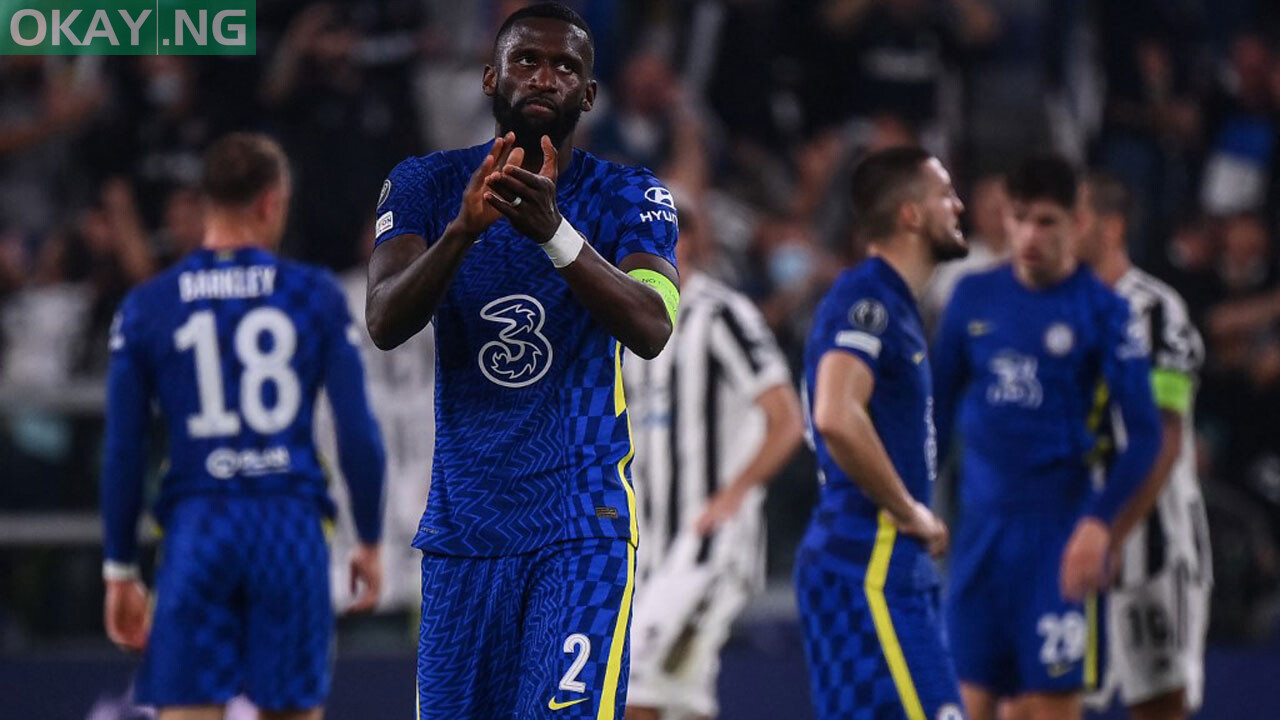 Chelsea's German defender Antonio Ruediger reacts at the end of the UEFA Champions League Group H football match between Juventus and Chelsea on September 29, 2021 at the Juventus stadium in Turin. Marco BERTORELLO / AFP