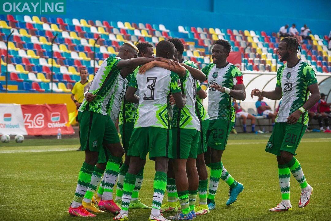 Super Eagles of Nigeria celebrating a goal