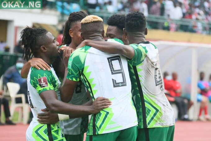 Super Eagles players celebrate after Victor Osimhen netted Nigeria's second goal against Central African Republic