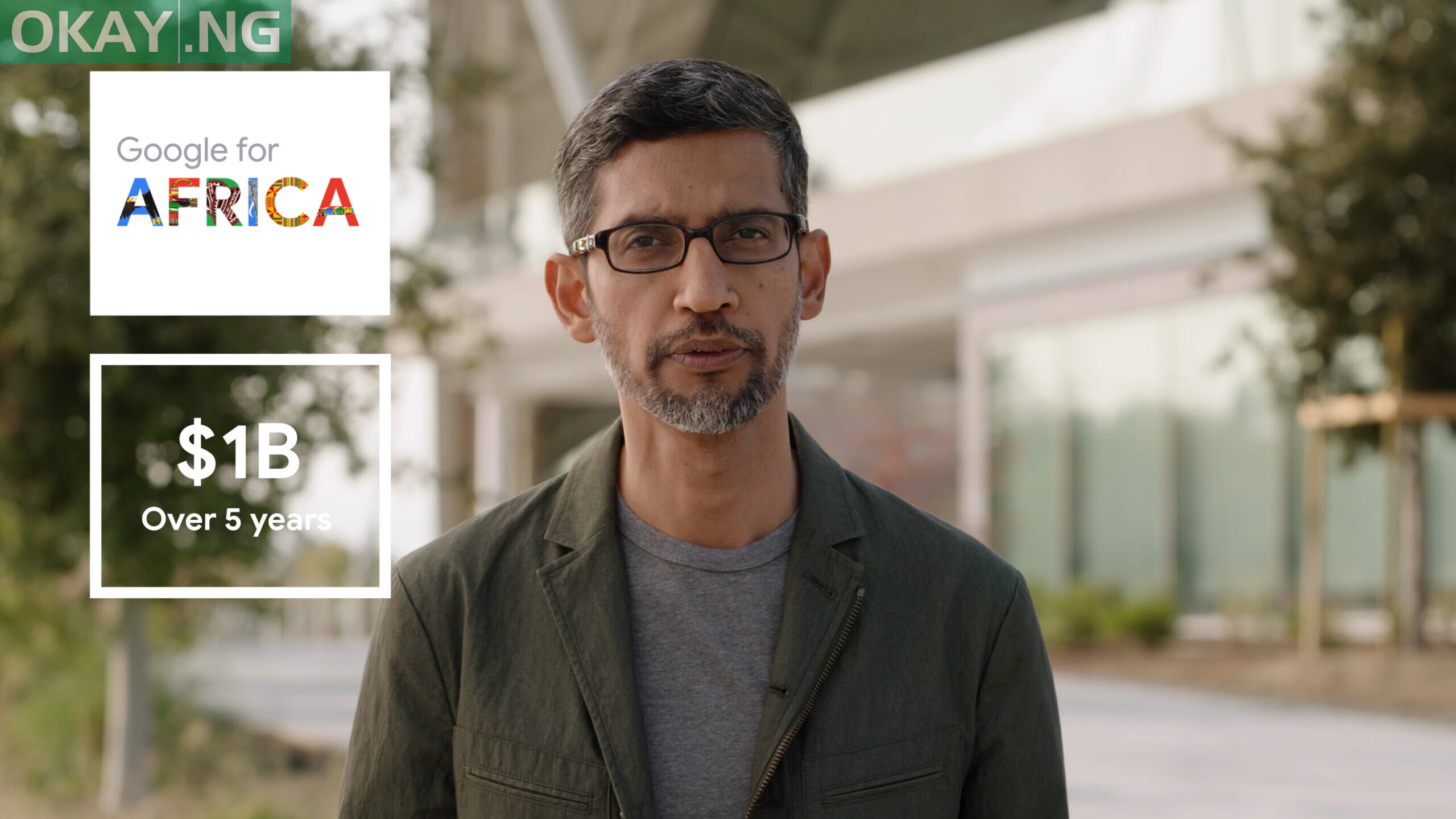 Google CEO Sundar Pichai speaking during its first virtual Google for Africa event